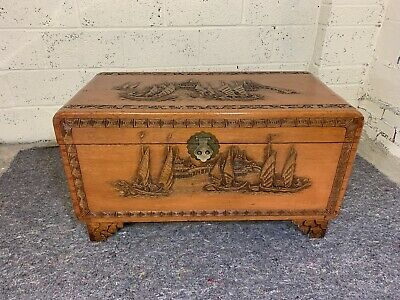 Vintage Camphor Wood Carved  Chest With Oriental Sailing Scenes • 250£