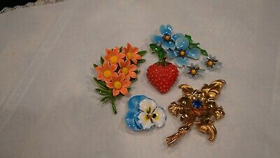 $ CDN13.57 • Buy Vintage Lots Of Jewelry Enameled Metal Brooches Pins & Earrings*****