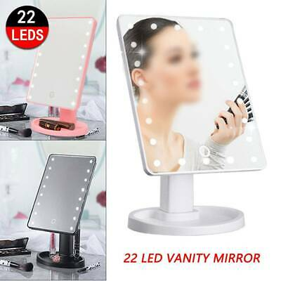 22 LED MAKE-UP VANITY MIRROR Tabletop Light Up Touch Screen Cosmetic Bathroom UK • 7.79£
