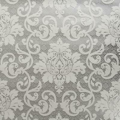 White Grey Silver Traditional Damask Wallpaper Textured Embossed Vinyl P+S • 9.49£