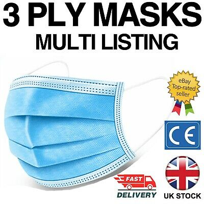 £4.49 • Buy Face Mask Surgical Disposable Mouth Cover 3ply Breathable Respiration Dust Mask