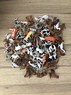 FARM ANIMALS 20 Mixed Small Plastic Toys / Cake Toppers VGC • 9.95£
