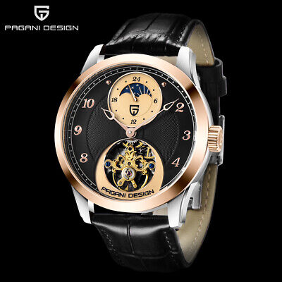$ CDN93.18 • Buy 42MM PAGANI DESIGN Automatic Mens Watch Black Leather Strap Moon Phase Watches