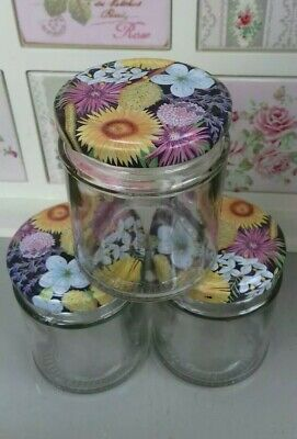 6 8 Oz/190 Ml Round Glass Jam Jars Crafts Yellow/Pink/White Flowers/Floral Lids • 7.69£