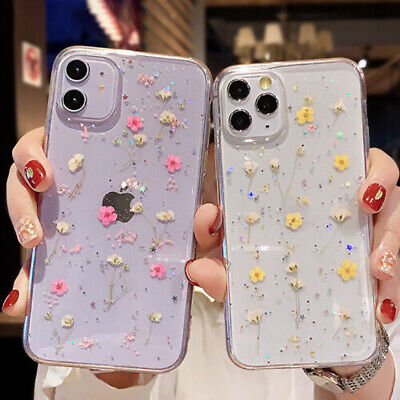 £4.99 • Buy Glitter Real Dried Flower Clear Case Cover For IPhone 12 13 Pro Max 11 SE 7 8 XR