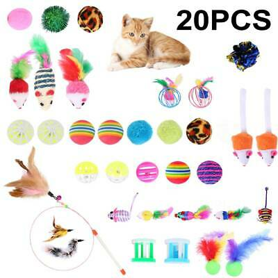 AU19.99 • Buy 20pcs Bulk Cat Interactive Play Toys Kitten Pet Rod Mouse Feathers Bells Balls ~