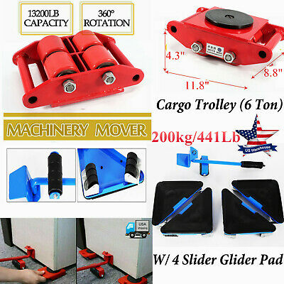 $62.05 • Buy Heavy Duty Machine Dolly Skate Machinery Roller Mover Cargo Trolley/4 Slider Pad