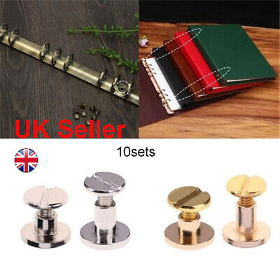 10sets Belt Screw Brass Solid Rivets Stud Head Leather Craft Nail For Wallet • 3.92£