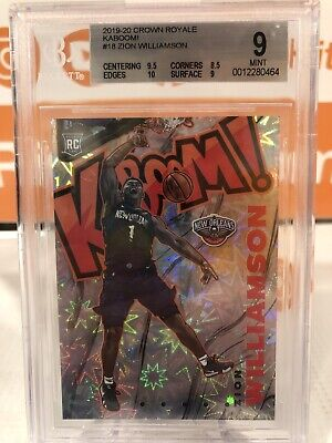 $57 • Buy 2019-20 Zion Williamson Crown Royale Kaboom! Graded 9 Mint Pelicans #18 RC