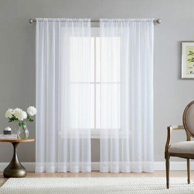 $36.60 • Buy HLC.ME White Sheer Voile Window Treatment Rod Pocket Curtain Panels For Kitchen,
