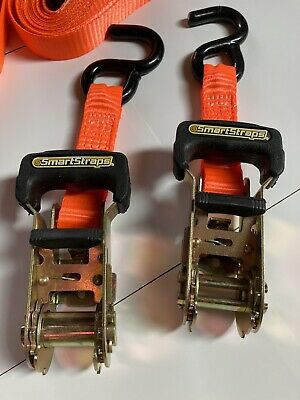 $27 • Buy Ratchet Tie Down Smart Straps 2pc Anchor Retractable Heavy Duty Hook-3,000 Lbs