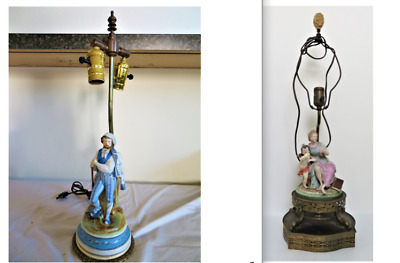 $ CDN20.38 • Buy Antique Porcelain Figurine Statue Lamps: Cherub & Lady + Standing Man, 2 Items