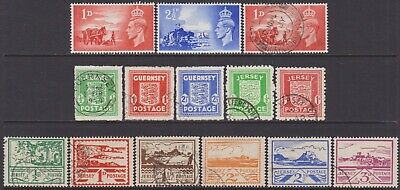 4 SETS KGVI Guernsey & Jersey 1941-1948 Occupation & Liberation MH & Used Stamps • 0.99£