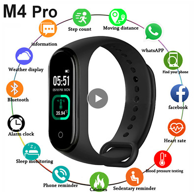 $ CDN18.68 • Buy M4 Pro Smart Band Thermometer New M4 Band Fitness Tracker Heart Rate.