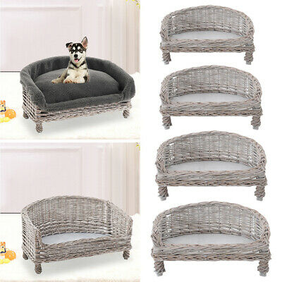 £21.95 • Buy Shabby Chic Dog Cat Couch Elevated Pet Basket Sofa Bed Wicker Rattan Armchair UK