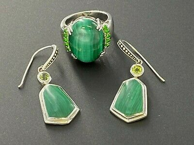 $ CDN64.73 • Buy Sterling Silver 925 Malachite & Peridot Hook Dangle Drop Earrings & Ring Lot