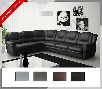 £689 • Buy New LARGE TEXAS Corner Sofa Faux Leather 6 Seater Right Or Left Black Grey Brown