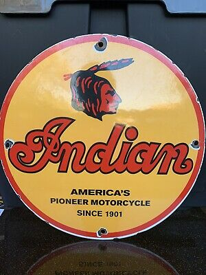 $ CDN20.38 • Buy Vintage  Indian Motorcycles  Gas & Oil Plate Heavy Porcelain Sign 12 Inch