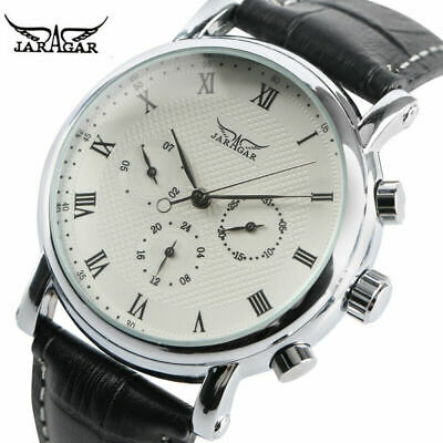 JARAGAR Black/White 22mm Leather Band Week Mens Automatic Mechanical Wrist Watch • 17.47£