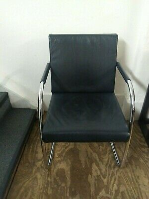 Second Hand Leather Meeting Chair - Black  • 114£