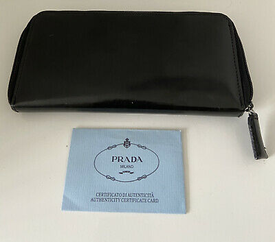 Rare Genuine Vintage Y2k 90s Prada Milano Black Leather Purse, Authenticity Card • 38£
