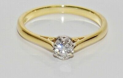 18ct Gold 0.25ct Diamond Solitaire Engagement Ring Size K • 195£