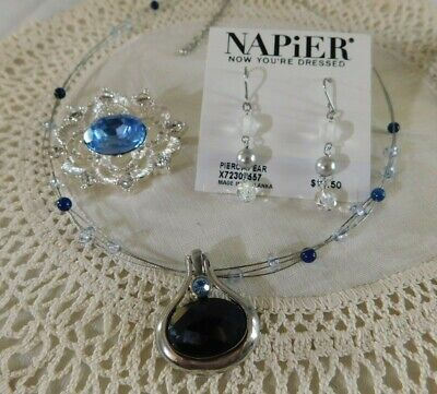 $ CDN6.79 • Buy Set Of 3 New Napier Drop Earrings, Blue Crystal Brooch And Lia Sophia Necklace
