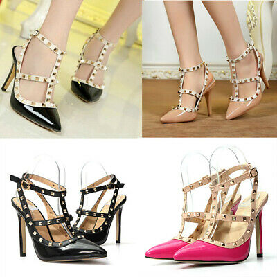 Women's Pointed Toe Studded Buckle Strappy Shoes High Heel Gladiator Sandals • 10.33£