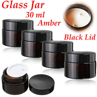 30ml Amber Glass Jar Bottles Cream Ointment Black Lid Cosmetics Candles   J ☜ • 10.03£