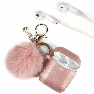 $ CDN10.41 • Buy 3-In-1 Thick TPU Case W/Key Chain And Strap For AirPods 1/2 Rose Gold Glitter