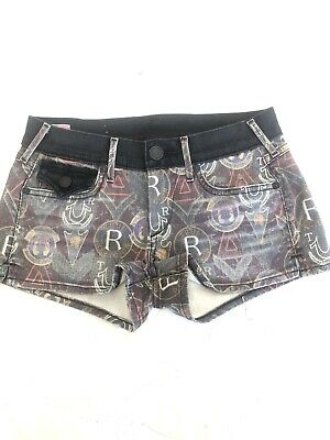 New True Religion Women's All Over Print Jean Shorts With Flap Pockets Size:27 • 36.17£