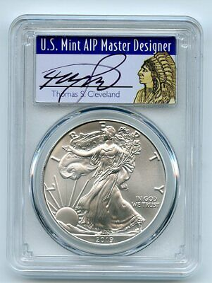 $22.50 • Buy 2019 $1 American Silver Eagle 1oz PCGS MS70 FS 1 Of 1000 Thomas Cleveland Native