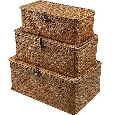 Wicker Hamper Storage Basket  Brown Wicker Gift With Lid- Small,Medium/ Large UK • 22.19£