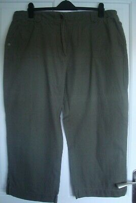 M&S Ladies Khaki Cropped Trousers Size 20 • 0.99£