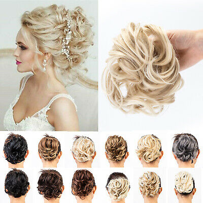 £6.09 • Buy Large Thick Curly Messy Bun Hairpieces Scrunchie Updo Remy Human Hair Extension
