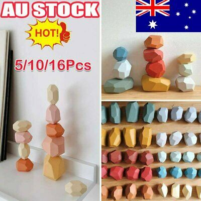 AU20.72 • Buy Baby Toy Creative Wooden Colored Stacking Balancing Stone Building Blocks AU