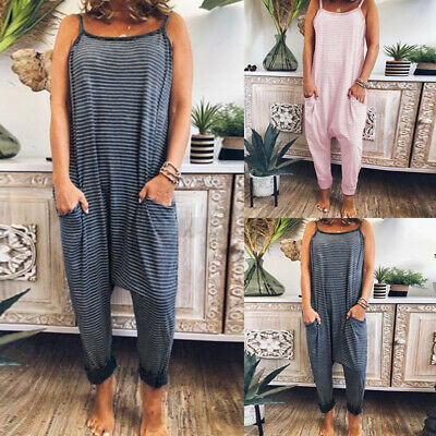 Size Women Ladies Baggy Strappy Playsuit Romper Casual Loose Harem Jumpsuit 8-26 • 7.35£