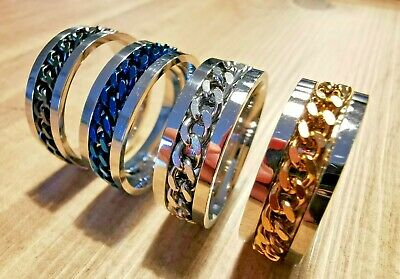 Mens Womens Titanium Stainless Steel Band Ring Spinning Curb Chain UK Size K-Z • 3.29£
