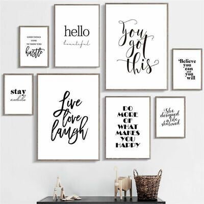 Live Love Laugh Inspiring Quotes Wall Art Canvas Painting Black Wall Poster  • 12.99£
