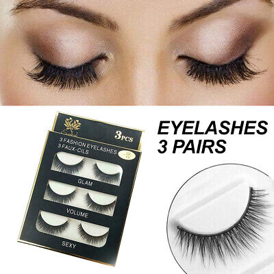 AU5.99 • Buy Eyelashes 3 Pairs Mink Natural Long Thick Makeup Cross False Eye Lashes AU Stock