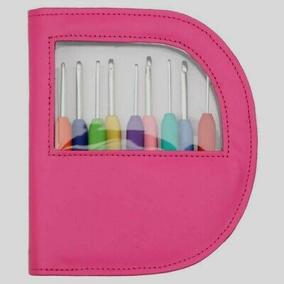 Set Of Knit Pro Waves Soft Grip Crochet Hooks In Stylish Pink Case,Colour Coded • 26.99£