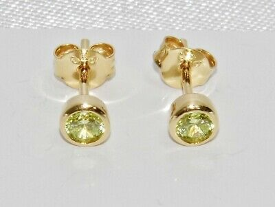 9ct Yellow Gold On Silver Peridot Stud Earrings - August Birthstone • 10.95£