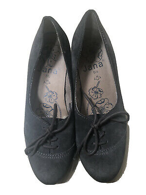 Size 5.5 H Wide Jana Grey Shoes Leather Suede Laced Low Stack Heels Comfortable • 1.99£