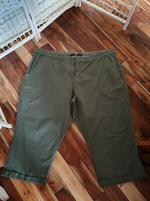 Ladies Size 22 Khaki Crop Soft Jean Trousers By Maine • 1£