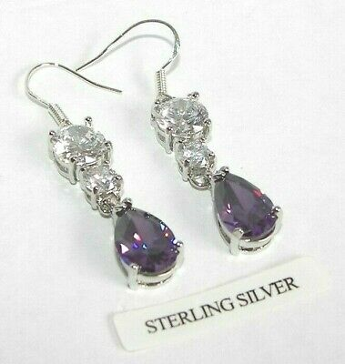 925 Sterling Silver Purple Amethyst Created Diamond Drop Dangle Earrings Boxed • 13.49£