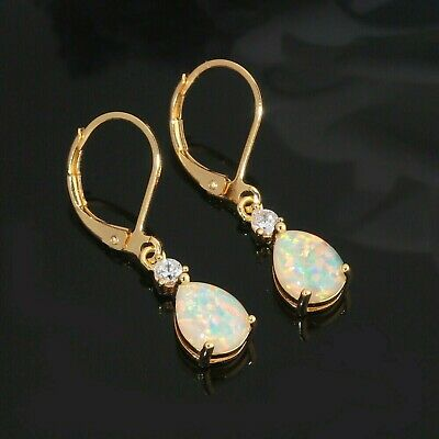 Gorgeous White  Fire Opal Yellow  Gold  Lever  Back  Earrings • 21.99£
