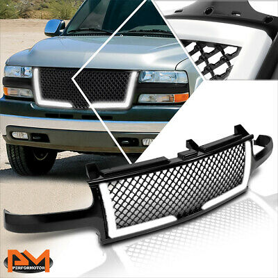 $133.89 • Buy For 00-06 Chevy Suburban/Tahoe Diamond Mesh Front Bumper Grille Frame W/LED DRL