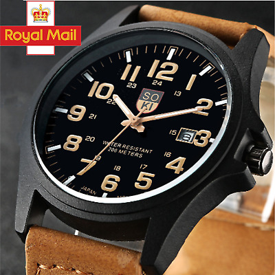 Men Women Military Leather Date Watches Quartz Analog Army Casual Wrist Watches • 4.99£