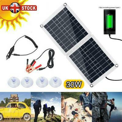 30W Folding Solar Panel Portable Camping Hiking Phone Battery Charger Power Bank • 19.88£
