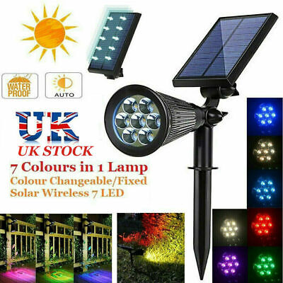 7 LED Solar Spot Lights Color Changing Waterproof Garden Light Outdoor Yard Lamp • 12.59£